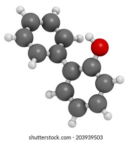 2-phenylphenol preservative molecule. Biocide used as food additive, preservative, and disinfectant.  Atoms are represented as spheres with conventional color coding: hydrogen (white), etc
