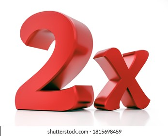 2X Red Letter 3D Rendering - isolated on a white background.