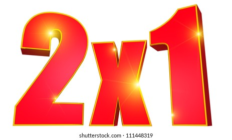 2x1 discount with gold trim and bright stars 3D text