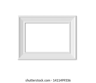 2x3 A4 Horizontal Landacape vertical picture frame mockup. Realisitc paper, wooden or plastic white blank for photographs. Poster frame mock up template on white background. 3D render.