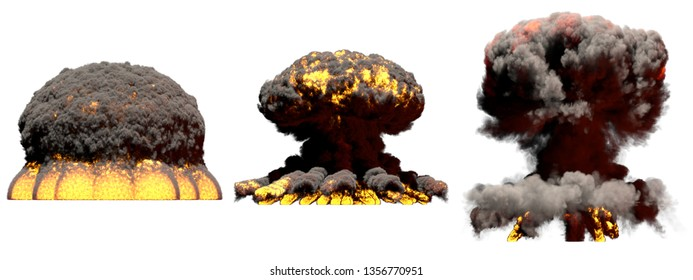 3 big different phases fire mushroom cloud explosion of nuke bomb with smoke and flames isolated on white - 3D illustration of explosion