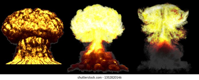 3 big very detailed different phases mushroom cloud explosion of nuke bomb with smoke and fire isolated on black - 3D illustration of explosion