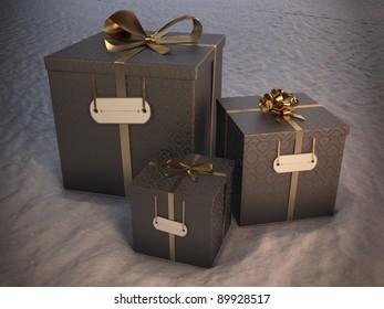 3 christmas gift boxes on snow