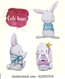 3 cute watercolor little hares with clothes