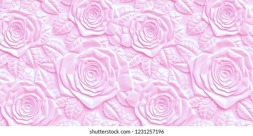 3 d. 3rd panel. Bulk pink roses of different sizes with a shadow on a pink background. Festive background. Pink background with 3 d effect.The volume panel with the image of roses.Render