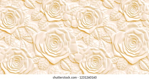 3 d. 3rd panel. Bulk yellow roses of different sizes with a shadow on a yellow background. Festive background. Yellow background with 3 d effect.The volume panel with the image of roses.Render