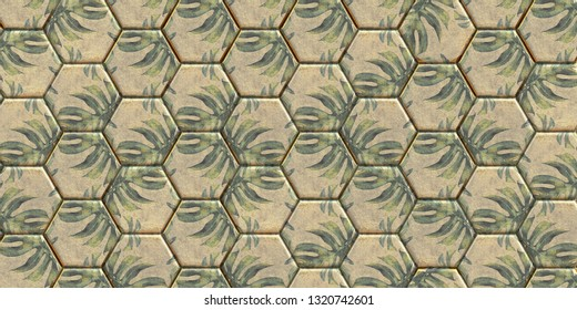 3 d illustration. Abstract background. 3 d panel of cells. Rows of polygons of the same size. Polygons of gold color with a palm leaf print. Background image, golden polygon panel. Render Palm leaves.