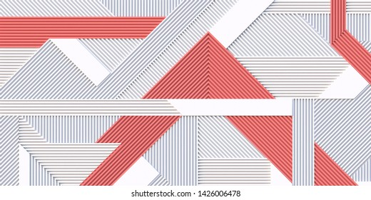 3 d illustration. Abstract pink white background. Geometric composition of three-dimensional shapes and lines located horizontally and diagonally. 3 d panel. Background modern graphic image. Render