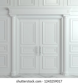 3Dイラスト。白い背景に切り取り線と閉めたクラシックドア。インテリアデザイン。背景