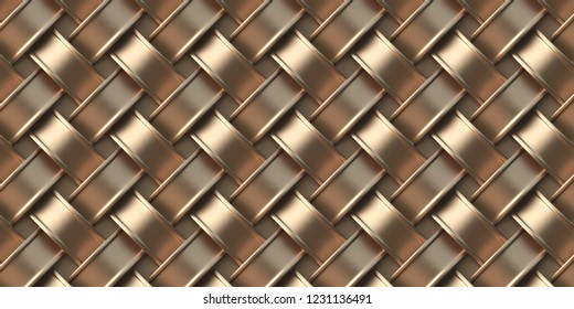 3 d illustration. Image of intersecting tape volume. Gold ribbons. Festive background.Geometric ornament, golden weaving. Abstract pattern modern design. Background of 3 d  rectangles. Render