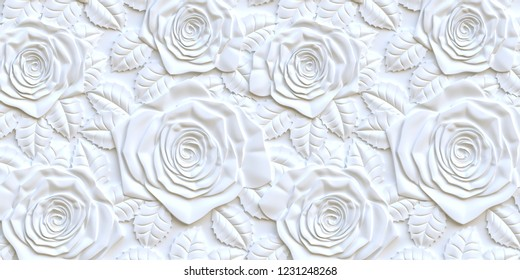 3 d illustration.3 d panel. Bulk white roses of different sizes with a shadow on a white background.Festive background.White background with 3 d effect.The volume panel with the image of roses.Render