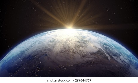 3 D render of Earth with Sun rising. Source: NASA Public Domain images Only small portion of map is visible.