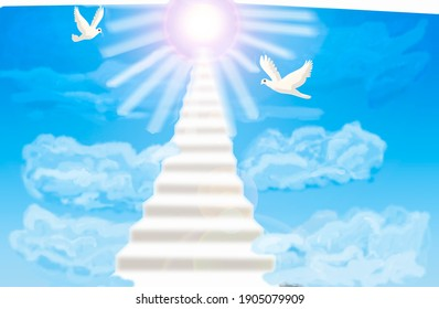 3 D - rendering. A light blurry staircase leading through the clouds to the light of the sun. Two white doves are flying in the clouds.