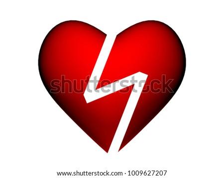 3 Dimension Heart Break Symbol Stock Illustration 1009627207