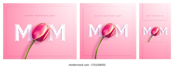 3 dimension in one minimal fresh design for Happy Mothers day greeting card with typographic design and floral tulip elements.