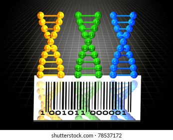 3 DNA chains and barcode