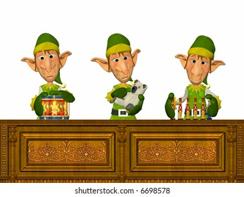 3 Elfs working on toy factory making presents.
