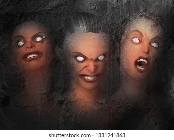 3 faced fear, portrait of an undead witch with haunting scary eyes, 3d rendering - 3d Illustration