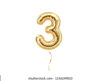 3. Foil balloon number three isolated on white background. 3d rendering