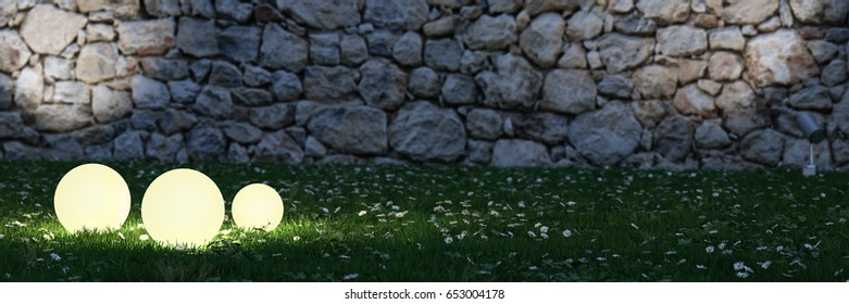 3 glowing spheres in garden with stone wall in background 3d rendering