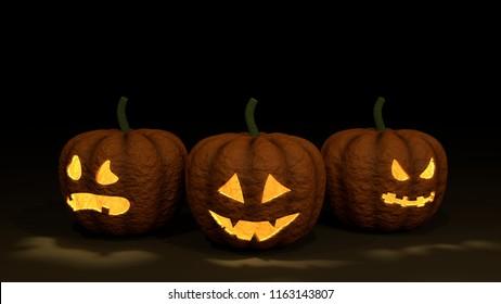 3 Halloween Pumpkins on black ground, 3D rendering