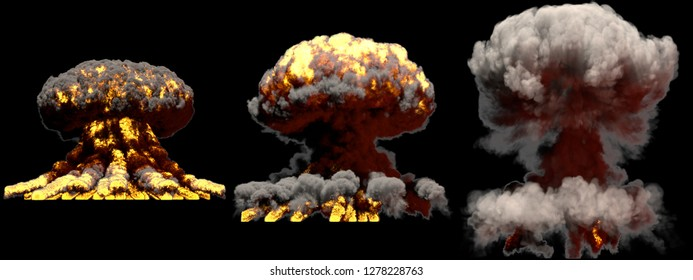 3 huge different phases fire mushroom cloud explosion of nuke bomb with smoke and flames isolated on black background - 3D illustration of explosion
