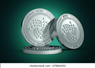 3 IOTA  physical concept coins on gently lit green background. 3D rendering. New virtual money