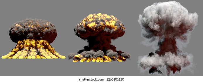 3 large different phases fire mushroom cloud explosion of nuke bomb with smoke and flames isolated on grey background - 3D illustration of explosion