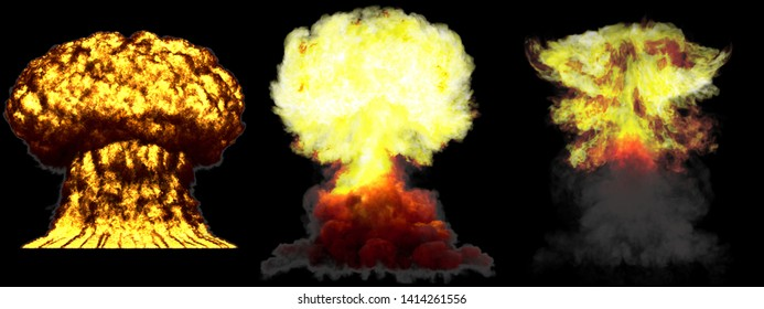 3 large highly detailed different phases mushroom cloud explosion of nuke bomb with smoke and fire isolated on black - 3D illustration of explosion