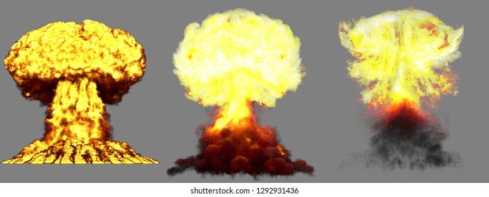 3 large very detailed different phases mushroom cloud explosion of nuke bomb with smoke and fire isolated on grey - 3D illustration of explosion