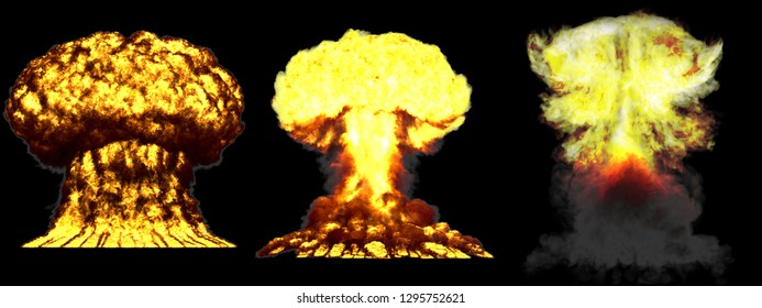 3 large very highly detailed different phases mushroom cloud explosion of nuke bomb with smoke and fire isolated on black - 3D illustration of explosion
