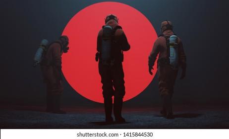 3 Men in a Hazmat suit Inspecting a Big Red Alien Sphere in a foggy void 3d Illustration 3d render