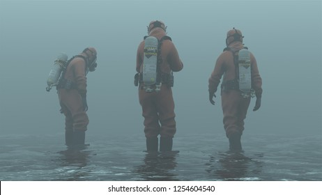 3 Men in Hazmat Suits Walking in Water Foggy Overcast Wasteland 3d Illustration 3d render
