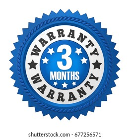 3 Months Warranty Badge Isolated. 3D rendering