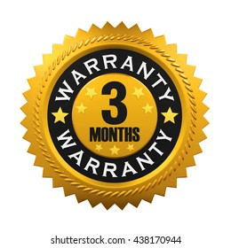 3 Months Warranty Sign. 3D rendering