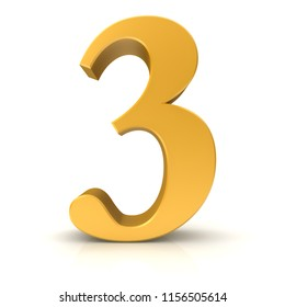 3 number three third gold 3d rendering isolated on white background