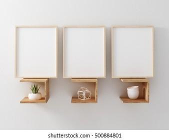 3 panel frame mockup 3d rendering