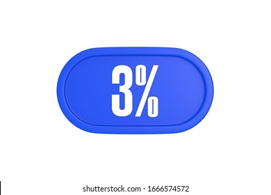 3 percent 3d sign in blue color isolated on white background, 3d illustration.