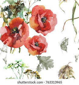 3 poppies and grass watercolor seamless pattern for fabrics, pattern
