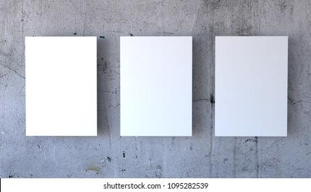 3 Posters Simple Mockup, 3d rendering