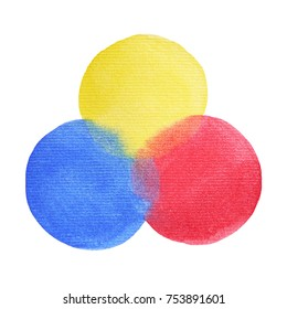 3 primary colors, blue red yellow watercolor painting circle round on white paper texture, isolated clipping path