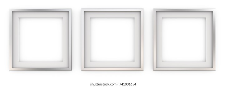 3 Square Picture Frames of Metal. Row of 3 Square Metal Frames with white Passe-partout. Blank for Copy Space. 3D render.