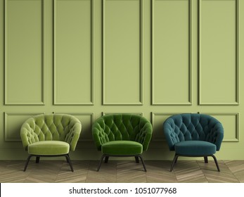 3 Tufted green armchairs in classic interior with copy space.Green walls with mouldings. Floor parquet herringbone.Digital Illustration.3d rendering