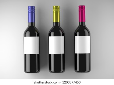 3 Wine Bottles Mock-Up on a white studio. 3d rendering.
