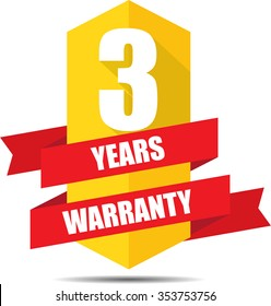 3 Year Warranty Promotional Sale Yellow Sign, Seal Graphic With Red Ribbons. A Specified Period Of Time.