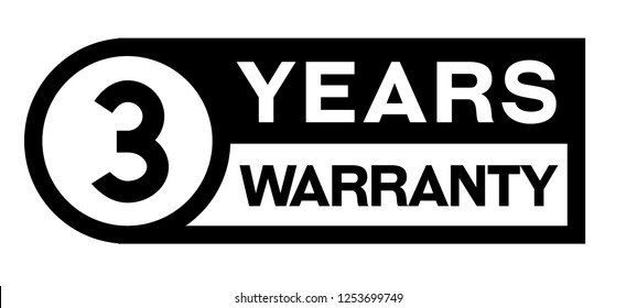 3 year warranty stamp on white background. Sign, label, sticker.