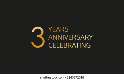 3 years anniversary logo. 3rd anniversary celebration label. Design element or banner for birthday, invitation, wedding jubilee.