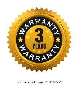 3 Years Warranty Sign. 3D rendering