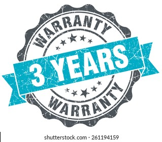 3 years warranty vintage turquoise seal isolated on white