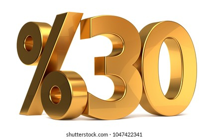 %30 3d rendering golden symbol